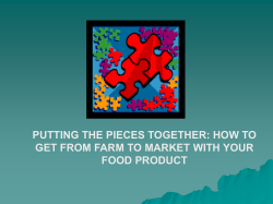 PUTTING THE PIECES TOGETHER: HOW TO FOOD PRODUCT
