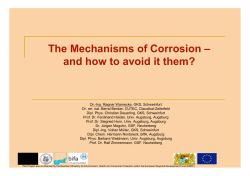 The Mechanisms of Corrosion – and how to avoid it them?