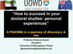"""How to succeed in your doctoral studies: personal experiences"""