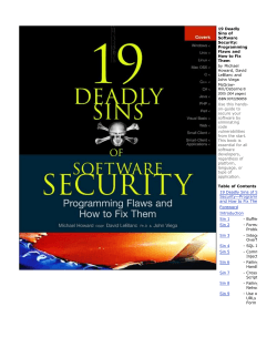 19 Deadly Sins of Software Security: