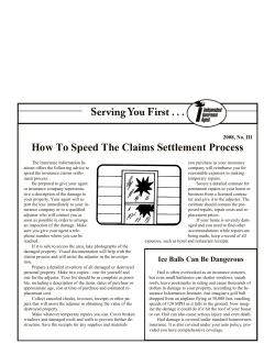 How To Speed The Claims Settlement Process 2008, No. III