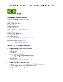 "MONAVIE ""HOW TO DO"" BUSINESS GUIDE Brazil  Brazil Contact Information:"
