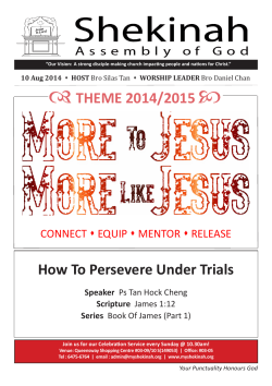    THEME 2014/2015 How To Persevere Under Trials