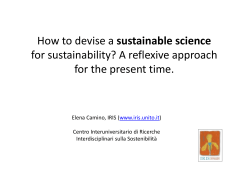 sustainable science  for sustainability? A reflexive approach  for the present time for the present time.
