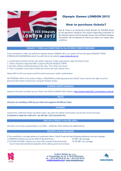 Olympic Games LONDON 2012  How to purchase tickets?