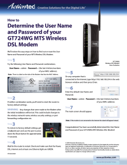 Determine the User Name and Password of your GT724WG MTS Wireless DSL Modem