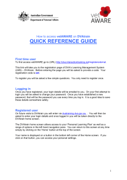 QUICK REFERENCE GUIDE vetAWARE  First time user