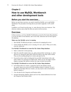 How to use MySQL Workbench and other development tools Chapter 2