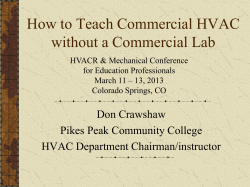 How to Teach Commercial HVAC without a Commercial Lab Don Crawshaw