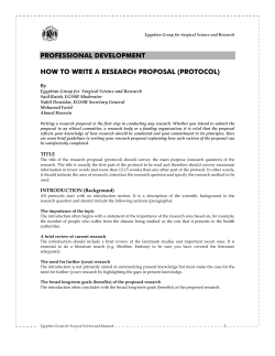 PROFESSIONAL DEVELOPMENT  HOW TO WRITE A RESEARCH PROPOSAL (PROTOCOL)