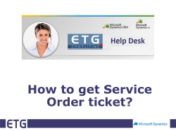 How to get Service Order ticket?