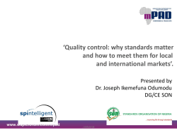 'Quality control: why standards matter and international markets'.