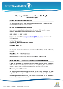 Working with Children and Vulnerable People Discussion Paper