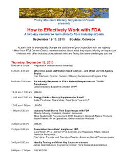 How to Effectively Work with FDA  Rocky Mountain Dietary Supplement Forum presents