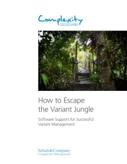 How to Escape the Variant Jungle Schuh & Company Software Support for Successful