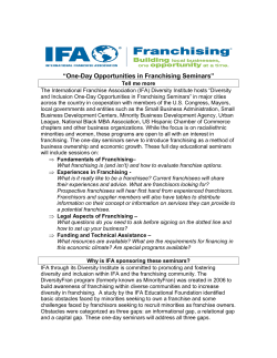 """One-Day Opportunities in Franchising Seminars"""