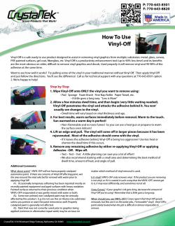 How To Use Vinyl-Off P: 770-643-8501 F: 770-643-8820