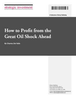 How to Profit from the Great Oil Shock Ahead