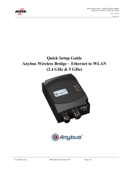Quick Setup Guide Anybus Wireless Bridge – Ethernet to WLAN
