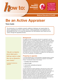 ow to: Be an Active Appraiser Trevor Austin Medical Education @ Cardiff