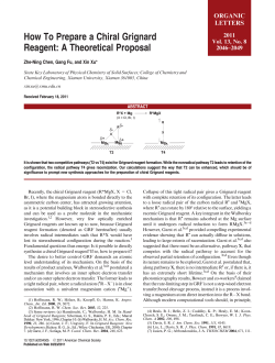 How To Prepare a Chiral Grignard Reagent: A Theoretical Proposal ORGANIC LETTERS