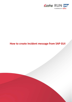 How to create Incident message from SAP GUI