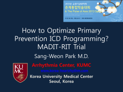 How to Optimize Primary Prevention ICD Programming? MADIT-RIT Trial Sang-Weon Park M.D.