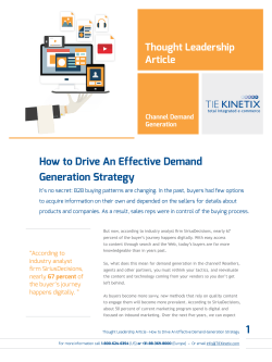 How to Drive An Effective Demand Generation Strategy Thought Leadership Article