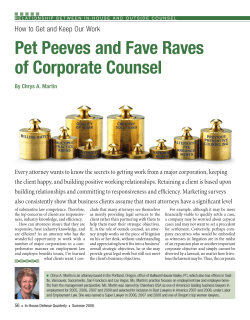 Pet Peeves and Fave Raves of Corporate Counsel