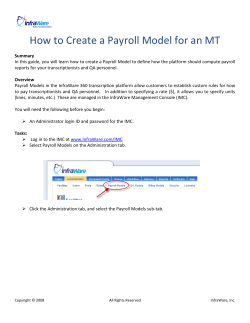 How to Create a Payroll Model for an MT