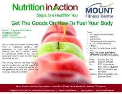 Nutrition Programs instructed by Registered Dietician Angela C. Dufour