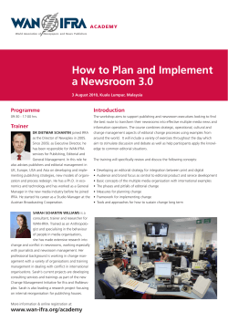 How to Plan and Implement a Newsroom 3.0 Programme Introduction