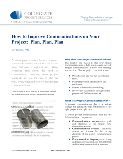 How to Improve Communications on Your Project:  Plan, Plan, Plan
