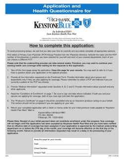 Application and Health Questionnaire for