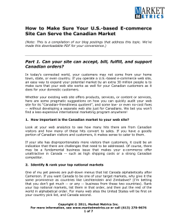 How  to  Make  Sure  Your ... Site Can Serve the Canadian Market