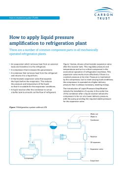 How to apply liquid pressure amplification to refrigeration plant
