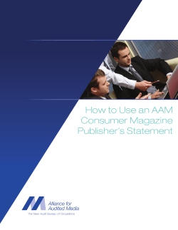 How to Use an AAM Consumer Magazine Publisher's Statement