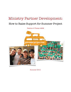 Ministry Partner Development: How to Raise Support for Summer Project Summer 2011