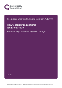How to register an additional regulated activity