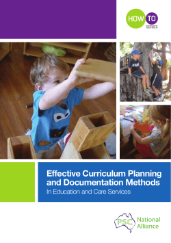 Effective Curriculum Planning and Documentation Methods TO HOW
