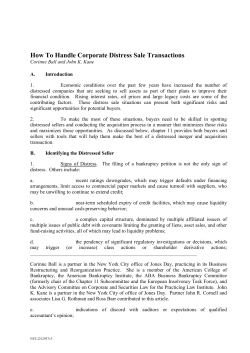 How To Handle Corporate Distress Sale Transactions