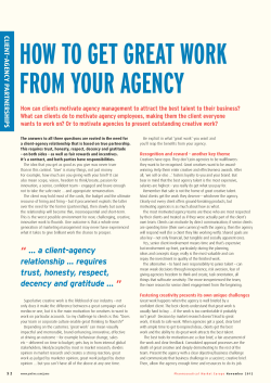 HOW TO GET GREAT WORK FROM YOUR AGENCY CLIENT –A
