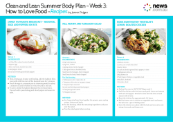 Clean and Lean Summer Body Plan - Week 3: Recipes