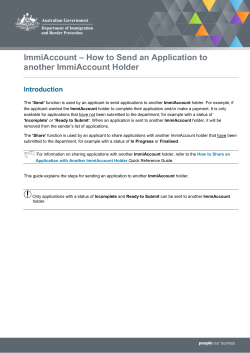ImmiAccount – How to Send an Application to another ImmiAccount Holder Introduction