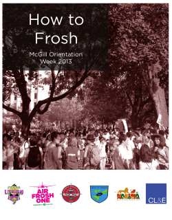 How to Frosh McGill Orientation Week 2013