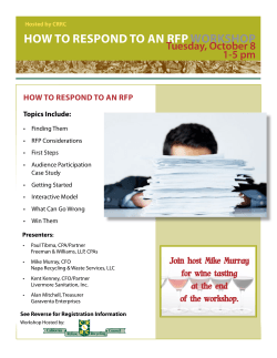 How to Respond to an RFp woRKsHop Tuesday, October 8 1-5 pm