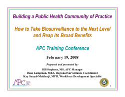 Building a Public Health Community of Practice APC Training Conference