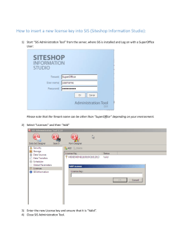 How to insert a new license key into SIS (Siteshop...