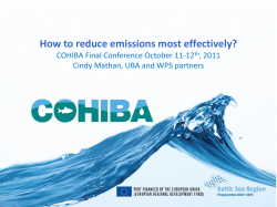 How to reduce emissions most effectively? COHIBA Final Conference October 11-12
