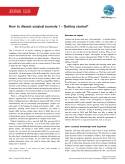 How to dissect surgical journals: I – Getting started*
